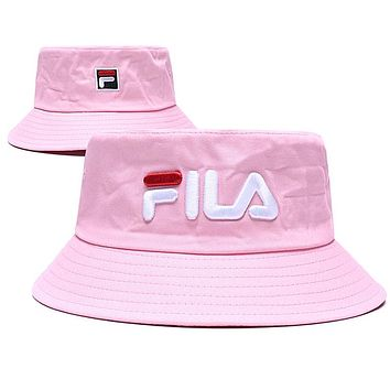 FILA Stylish Cute Embroidery Shade Sunhat Fisherman Hat Cap Pink