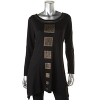 Style & Co. Womens Embellished Asymmetric Tunic Sweater
