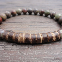 Ocean Jasper Gemstone, Coconut Heishi, and Stainless Steel Mens Beaded Bracelet/Camouflage/Khaki/Brown/Gray