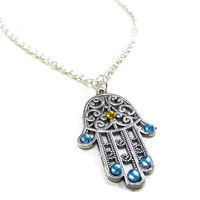 Silver Hamsa Hand Necklace, Evil Eye Necklace, Hamsa Hand Jewellery,Crystal Evil Eye , Hamsa Jewelry, Protection Necklace, Friendship Gift
