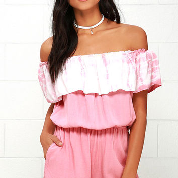 All Aboard Blush Pink Tie-Dye Off-the-Shoulder Romper