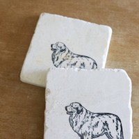 Great Pyrenees Dog Marble Coasters