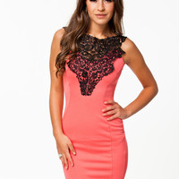 Pink Floral Crochet Patch Sleeveless Bodycon Mini Dress