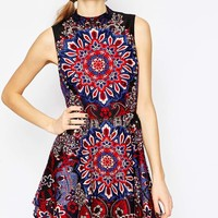 ASOS Paisley Studded Mini Skater Dress
