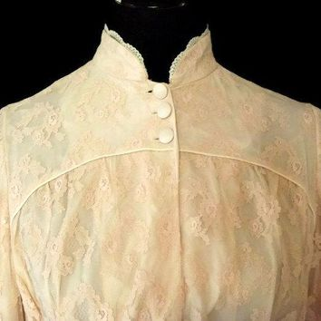 Bill Tice for Royal Never Worn with Tags Lace Loungewear Lounge Wear Robe Dress Velvet Satin Sash Belt Cream Victorian Style