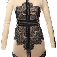 Black Lace Eyelash Long Sleeve Bodycon Dress
