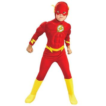 Flash Muscle Kids DC Comic Superhero Fancy Dress Fantasia Halloween Costumes Disfraces for Child Boy's Cosplay clothing