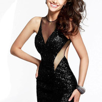 Black Sequined Bodycon Dress