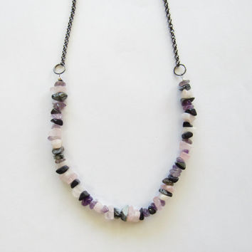 Gemstone Chip Necklace; Lavender, Grey, Pink; Small Stone Necklace; Gunmetal Chain; Handmade Jewelry; Multi Stone Necklace