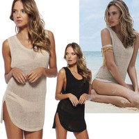 Sexy Hollow Crochet Bikini Cover Up / Beach Dress