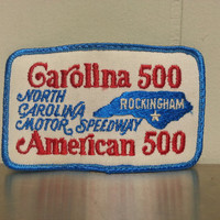 Vintage 70's Carolina 500 American 500 Hat Patch Red White and Blue North Carolina Motor Speedway Rockingham Craft