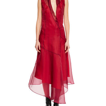 Olivier Theyskens Sleeveless Silk Asymmetric Flared Midi Dress w/ Rolled Collar