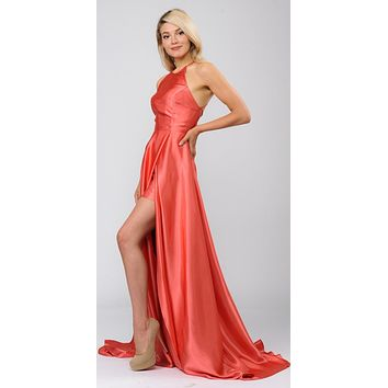 Coral Faux-Wrap Floor Length Prom Dress Strappy Open Back