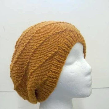 """Yellow gold swirl slouchy beanie hat knitted  10"""" length  5314"""
