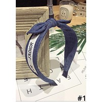 Dior 20919 new tide brand female denim fabric knotted wide-brimmed hair band hairpin headband #1