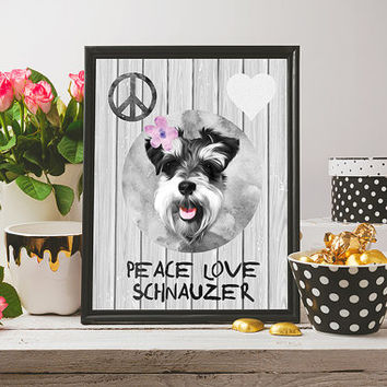 Peace love schnauzer wall art, schnauzer art print, love dog art print, dog wall art, dog art gift, dog gift, dog poster, dog painting
