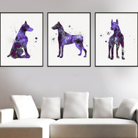 Doberman Art, Set Of 3 Prints, Doberman Print, Watercolor Doberman, Doberman Wall Decor, Doberman Poster, Doberman Painting, Dog Lover Gift