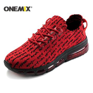 Onemix men running shoes sneakers damping cushion for outdoor jogging walking shoes for men sneakers lightweight knit mesh vamp