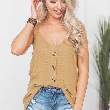 Cindy Thermal Button Tank | Mustard