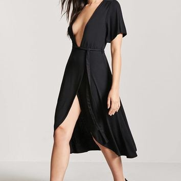 Plunging Wrap-Front Dress