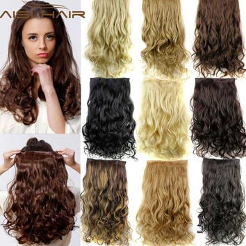 Hairpiece 24inch 60cm  120g Curly Wavy Hair Extension Synthetic Clip In Hair Extensions Heat Resistant Multicolor Wholsale Xmas