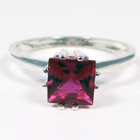 Ruby Princess Cut Ring, 925 Sterling Silver, July Birthstone Ring, Square Ruby Ring, Princess Cut Ruby Ring, Sterling Princess Cut Ring
