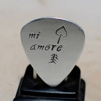 Sterling silver Mi Amore Guitar Pick for Valentines Day