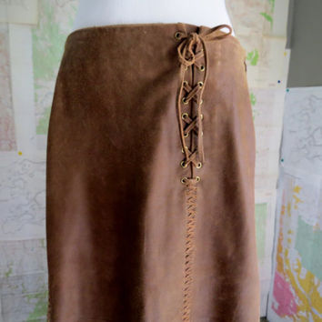 Vintage Long Brown Leather Skirt Sundance Size 10 Boho Festival Wear Hippie