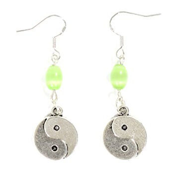 Yin Yang Earrings Silver Tone Tao Dangle Earrings EG26 Fashion Jewelry