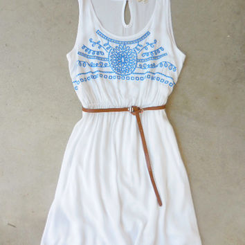 Embroidered Wild Cloud Dress [7174] - $36.00 : Feminine, Bohemian, & Vintage Inspired Clothing at Affordable Prices, deloom