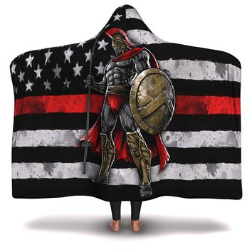 Hooded Blanket All-Over 11th  Design Red Line Warrior