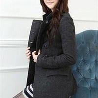 Korean slim women double breasted wool trench coat = 1929807876