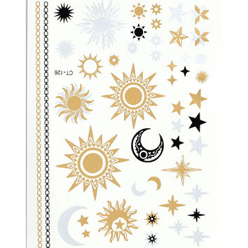 CT126 sun and moon large temporary metallic golden flash tattoo tattoos sticker can used as necklace