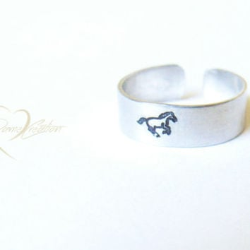 Horse Ring - Horse Jewelry - Equestrian Jewelry - Animal Jewelry - Personalized Ring - Custom Ring - Handstamped Ring - Horse Lovers