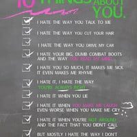 ten things i hate about you.. funny love checklist.. digital