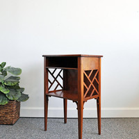 Vintage Side Table with Shelf and Chippendale Style Lattice Sides