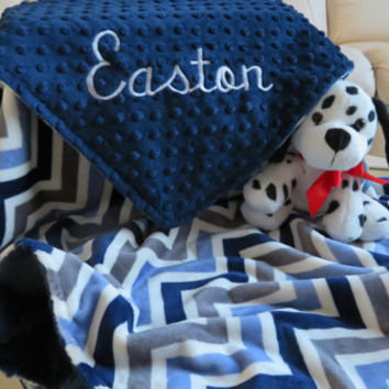 Minky Baby Blanket, Personalized Baby Boy Blanket, Navy Blue Denim Baby Boy Blanket, Baby Gift, Baby Shower Gift, Minky Baby Blankets