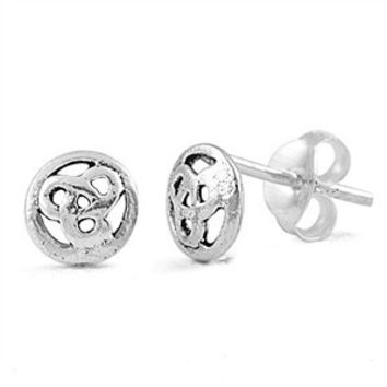 Sterling Silver Round Celtic Stud Earrings
