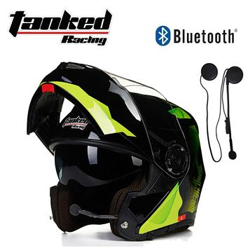 New German Tanked Racing Flip Up Helmet  Double lens Motorcycle Helmets ABS Open Face Motorbike Safety helmet with Bluetooth