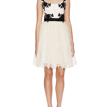 Lace Embellished Scoopneck Cocktail Dress
