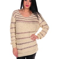 Costa Blanca Stripe Sequin Sweater - Natural