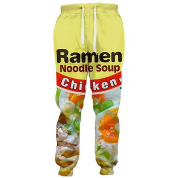 Cloudstyle  3D Long Men Straight Drawstring  Full Length Ramen Noodle 3D Print Loose Casual Trousers