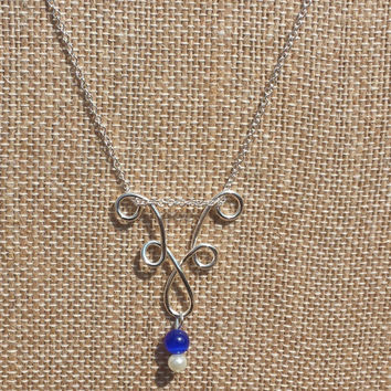 Silver Chandelier Necklace with Royal Blue/Pearl Bead Dangle