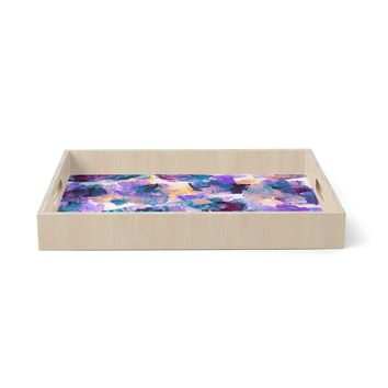 """Ebi Emporium """"Floral Spray 2"""" Green Teal Floral Abstract Painting Mixed Media Birchwood Tray"""