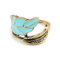 World Pride Unique & Elegant Fashion Jewelry - Vintage Copper Tone Enamel Leaf Ring