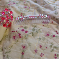 Rhinestone Baby Comb and Brush Set