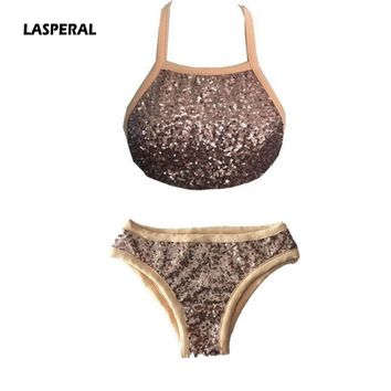 LASPERAL Sexy Bikini Sets 2017 Solid Gold Halter Bandage Women Bikini Two Piece Swimsuit Beach Suits Maillot De Bain Femme
