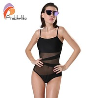 One Piece Swimsuit Sexy Mesh Backless Bodysuit