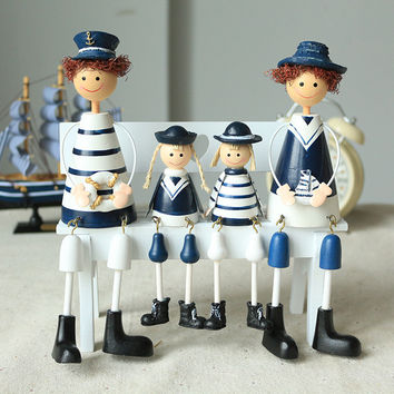 4 Pieces A Family Of Four Creative Hanging Navy Wood Doll For Art Home Wooden Ornament Decor