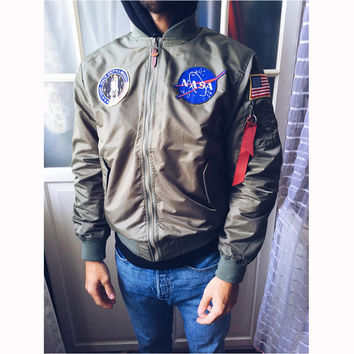 Men's NASA MA1 Bomber Air Force Baseball Military Thin Section Jacket